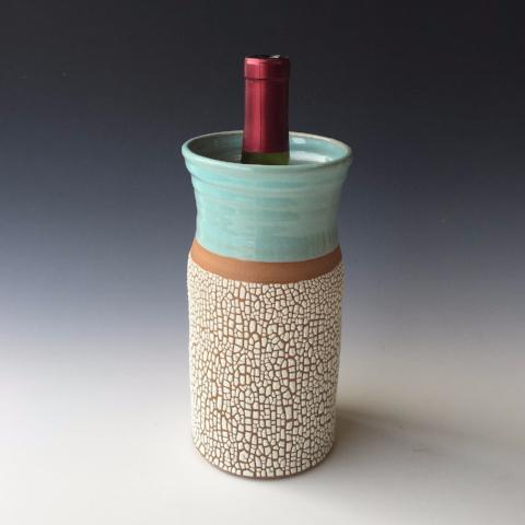 Wine Caddy or Vase | Crackle Glaze Stoneware