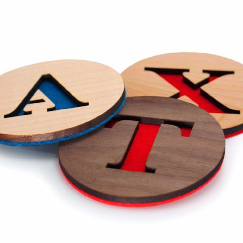 Hardwood & Felt Coasters | ATX Letters (Set of 3)