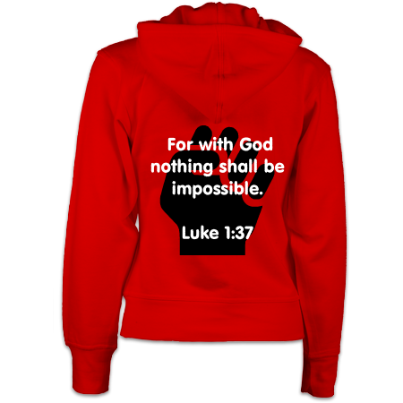 For nothing will be impossible with God : Women's Zip Hoodie