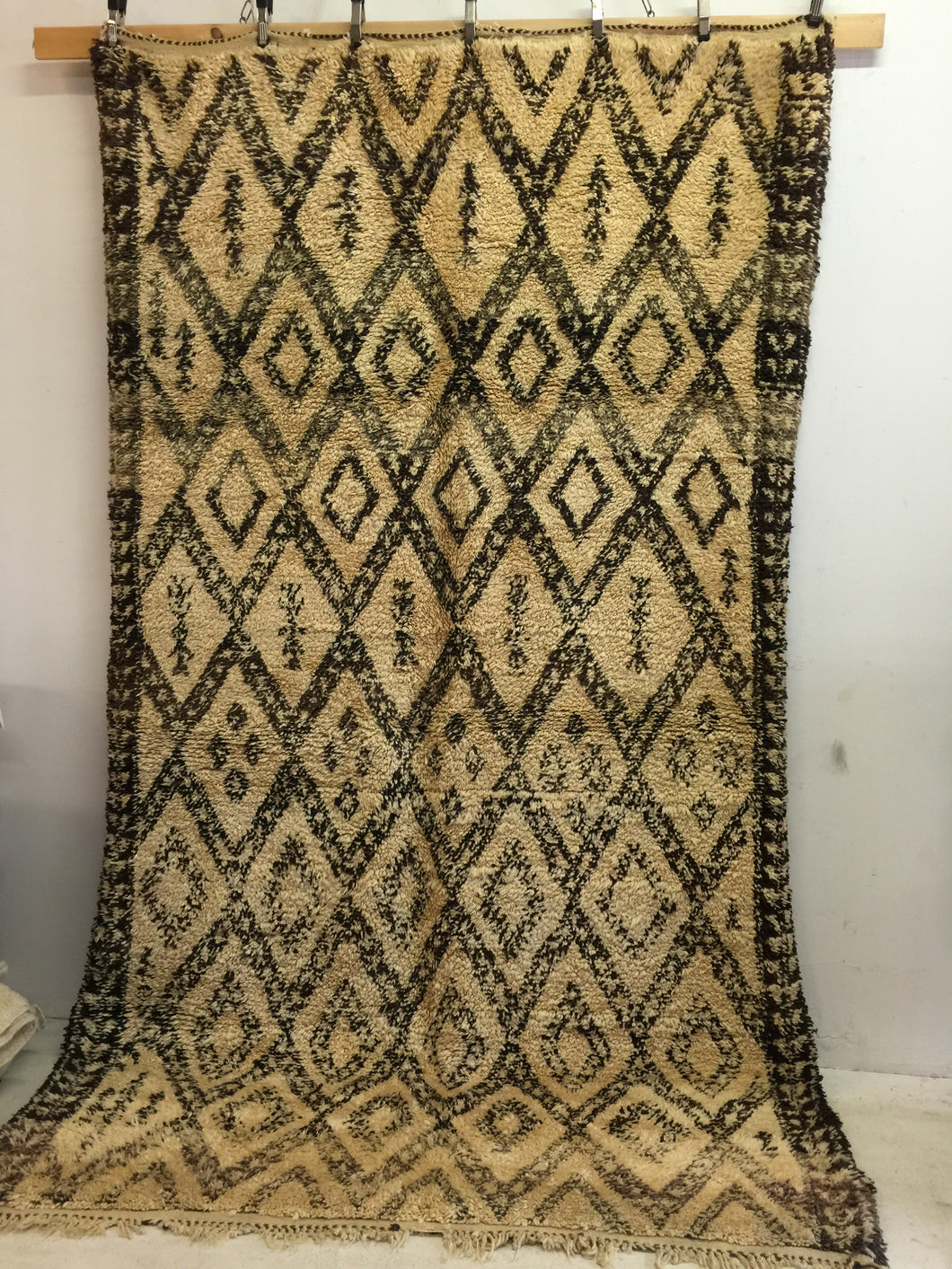 Large vintage beni ourain shaggy carpet