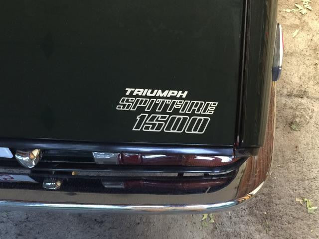 TRIUMPH SPITFIRE 15OO DECALS FRONT /& REAR STICKERS