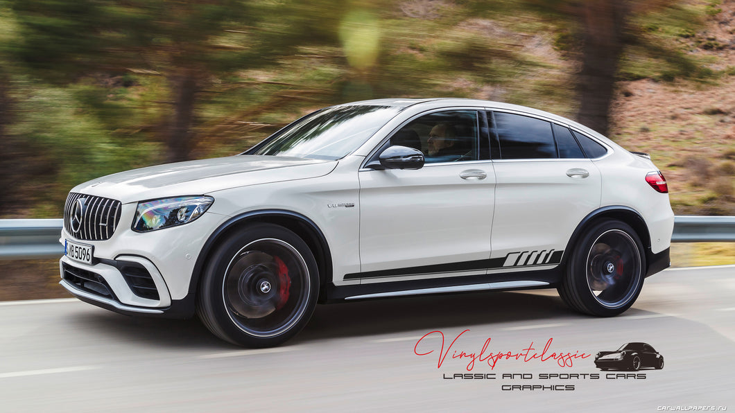 PREMIUM QUALITY MERCEDES GLC AMG SIDE STRIPES DECAL VINYL
