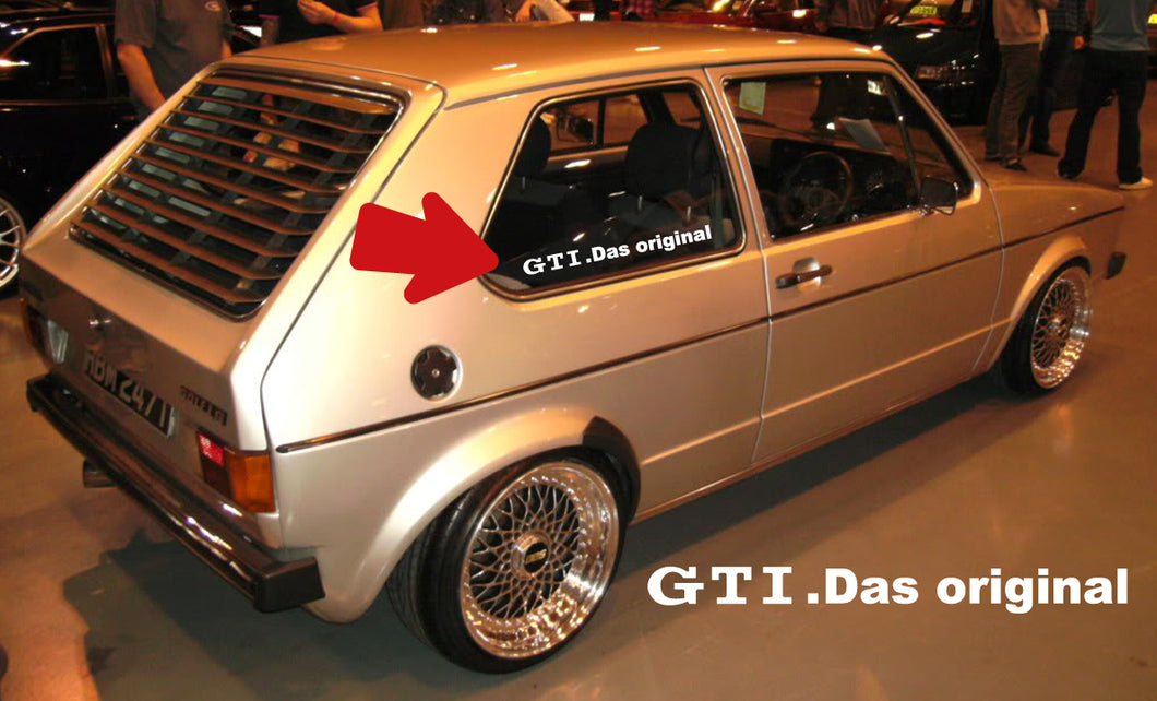 VOLKSWAGEN GOLF GTI MK1 QUARTER WINDOW STICKER DECAL