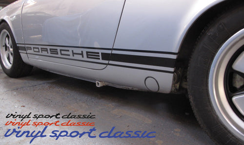 PORSCHE EARLY 911 CLASSIC STRIPES OLD FASHION BLOCKY LETTER