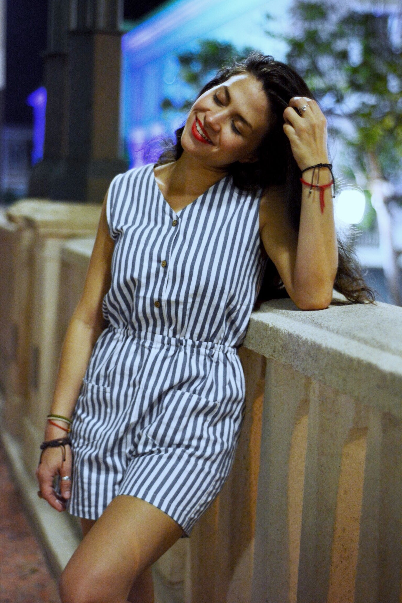 Lines and Denim Romper