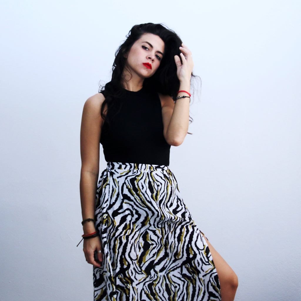 Pattern Print Long Skirt