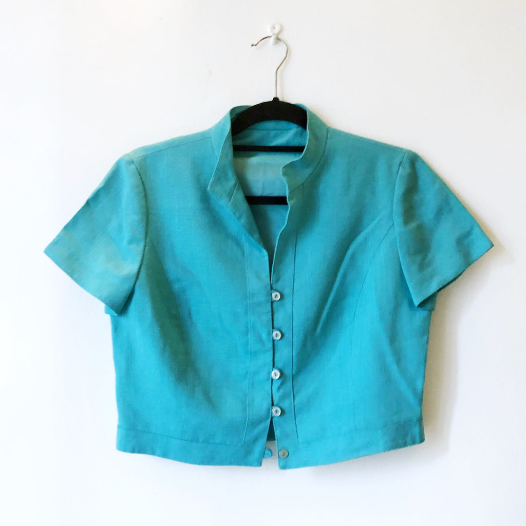 Turquoise button top