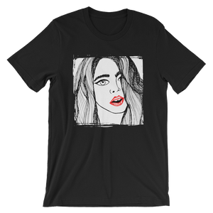 The Girl Red Lips Short-Sleeve Unisex T-Shirt