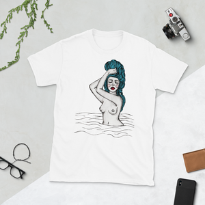 Woman in Blue Unisex T-shirt