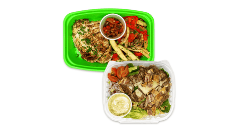 Example of diet meal plans in delivery containers