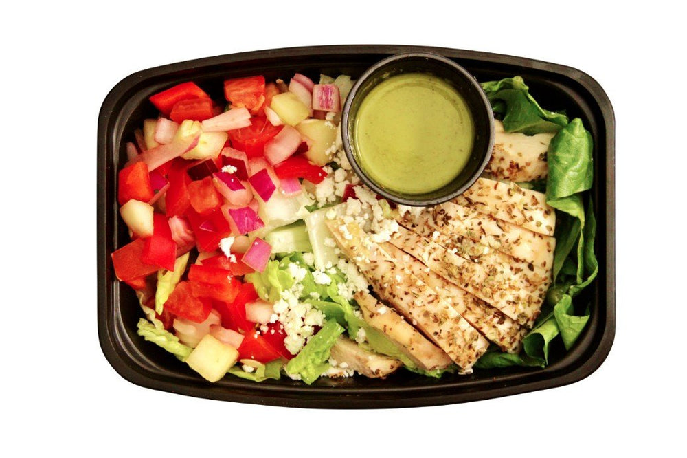 Greek Salad With Chicken - Pure Plates Healthy Salads for takeout or delivery. St. Louis clean eating
