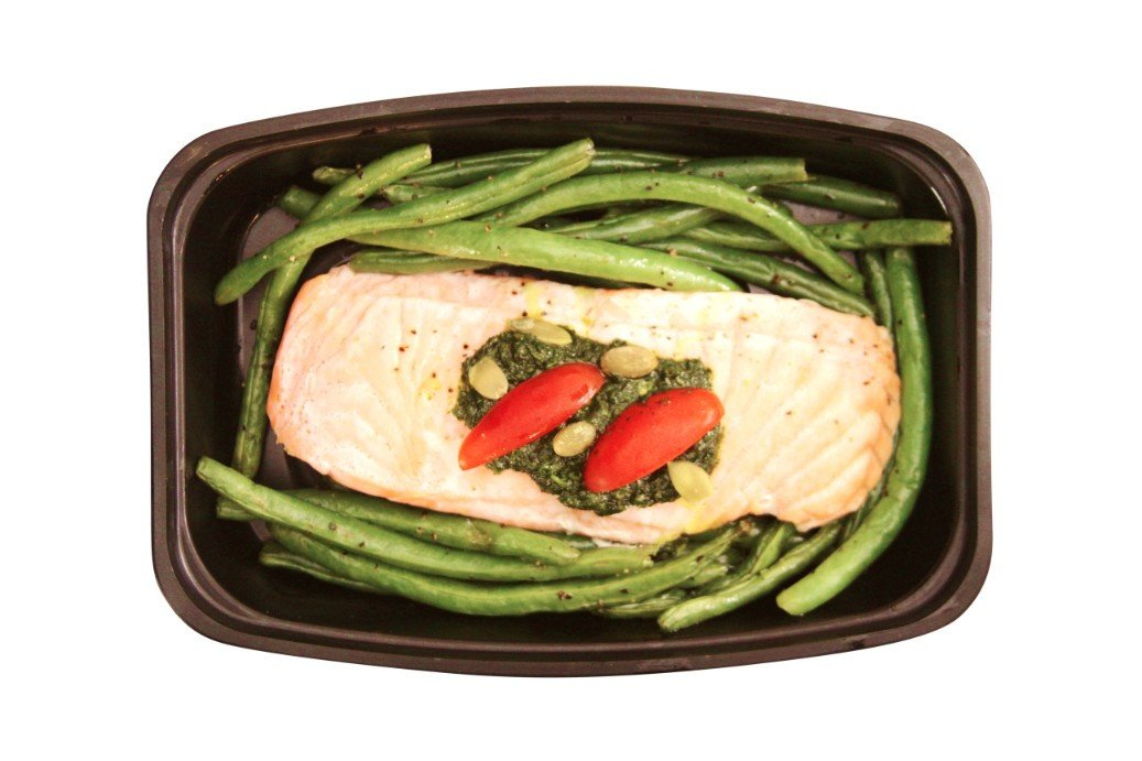Pan Seared Salmon with Pesto - Healthy Seafood Meals for takeout or delivery