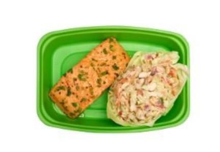 Honey Ginger Salmon with a Healthy Asian Slaw - Pure Plates healthy seafood dishes for take out or delivery in the St. Louis area