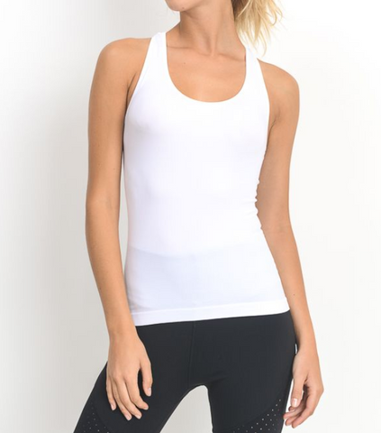 White Seamless Active Tank