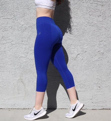 Royal Blue Seamless Capri (available in Charcoal Gray)