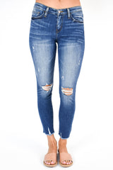 Flying Monkey Mid Rise Distressed Fray Hem Jean (Blue Lotus)