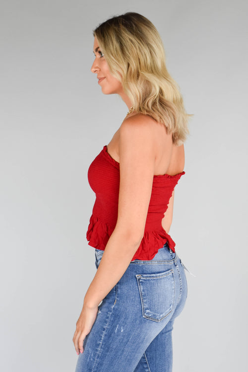 Summer's End Ruffle Tube Top (Red)