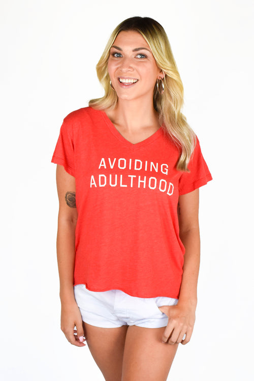 Wildfox Avoiding Adulthood Romeo V-Neck Tee