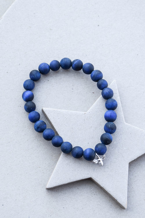 B. Alli Silver Bee Mini Dharma Bracelet (Blue Tiger's Eye)