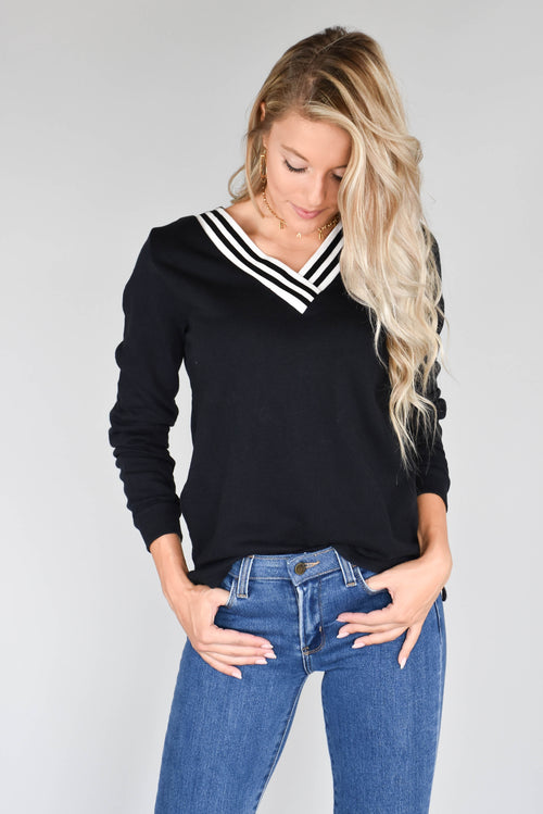 Michelle Stripe V-Neck Long Sleeve