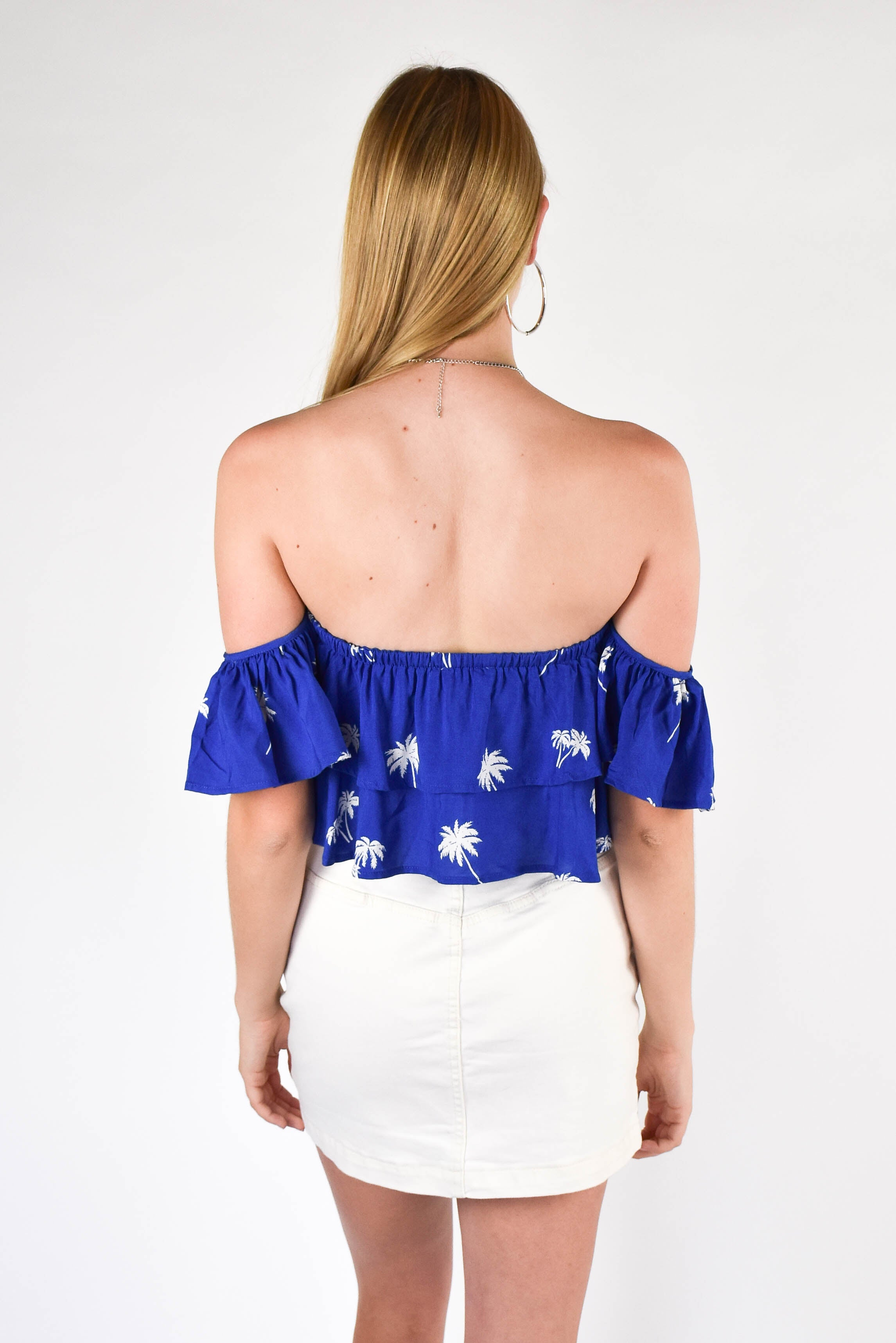 Royal Palm Tree Off The Shoulder Top