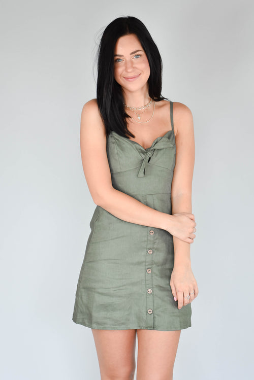 Sweetheart Tie-Front Dress (Olive)