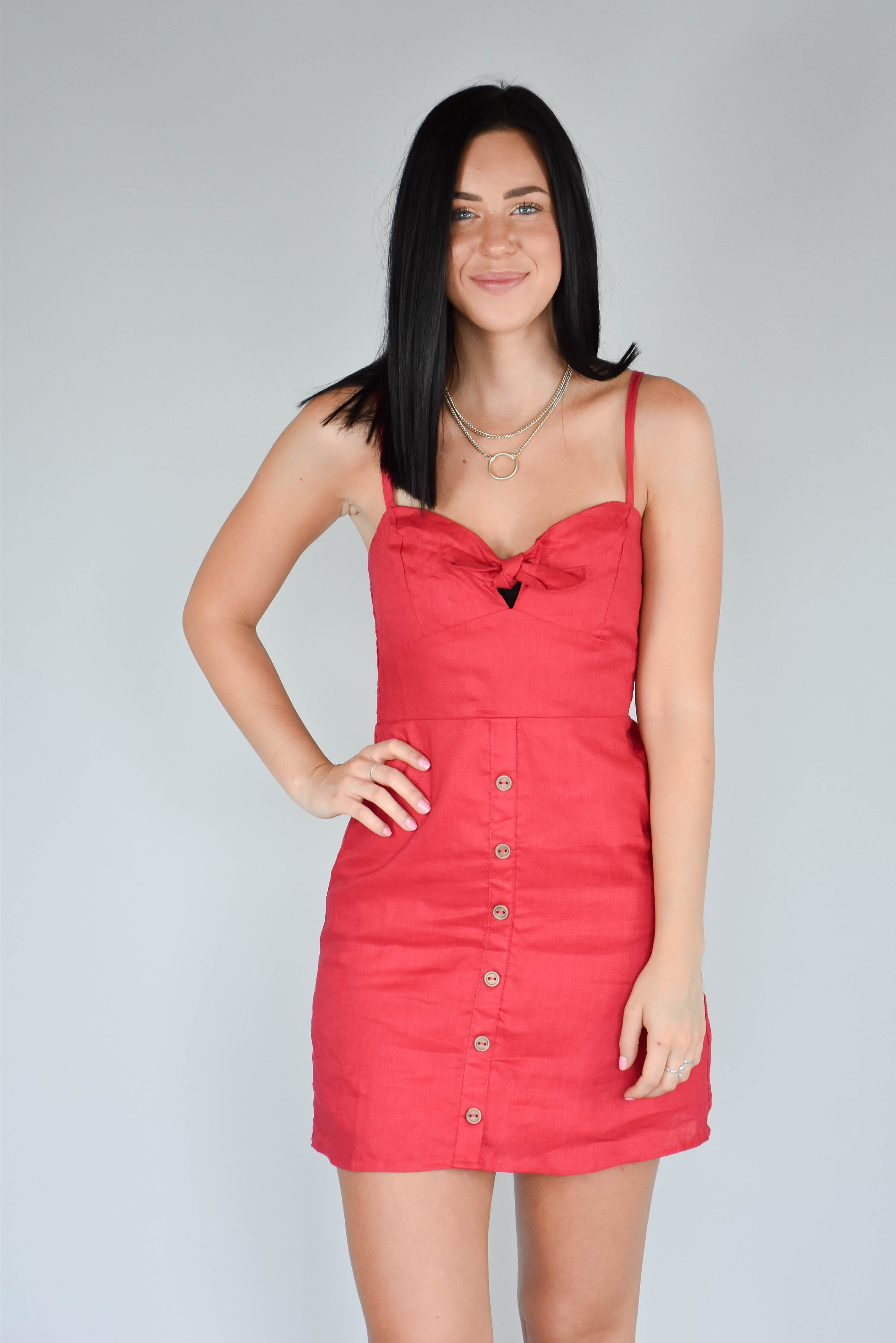 Sweetheart Tie-Front Dress (Red)
