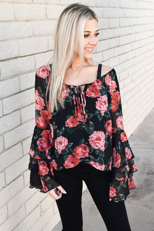 Olivaceous Rose Bud Long Sleeve Top SALE