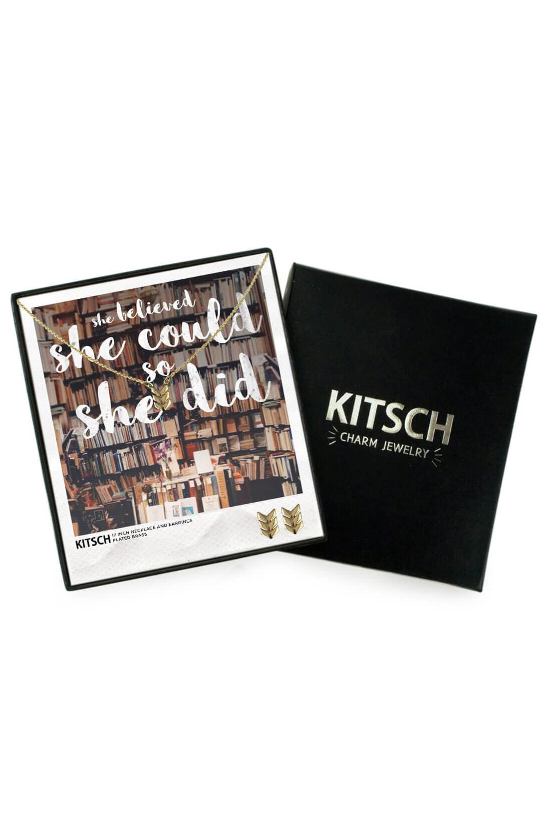 "Kitsch ""She Believed She Could, So She Did!"" Chevron Charm Set"