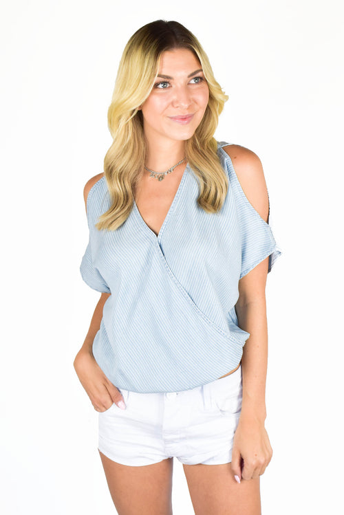 Love Stitch Denim Cold Shoulder Top