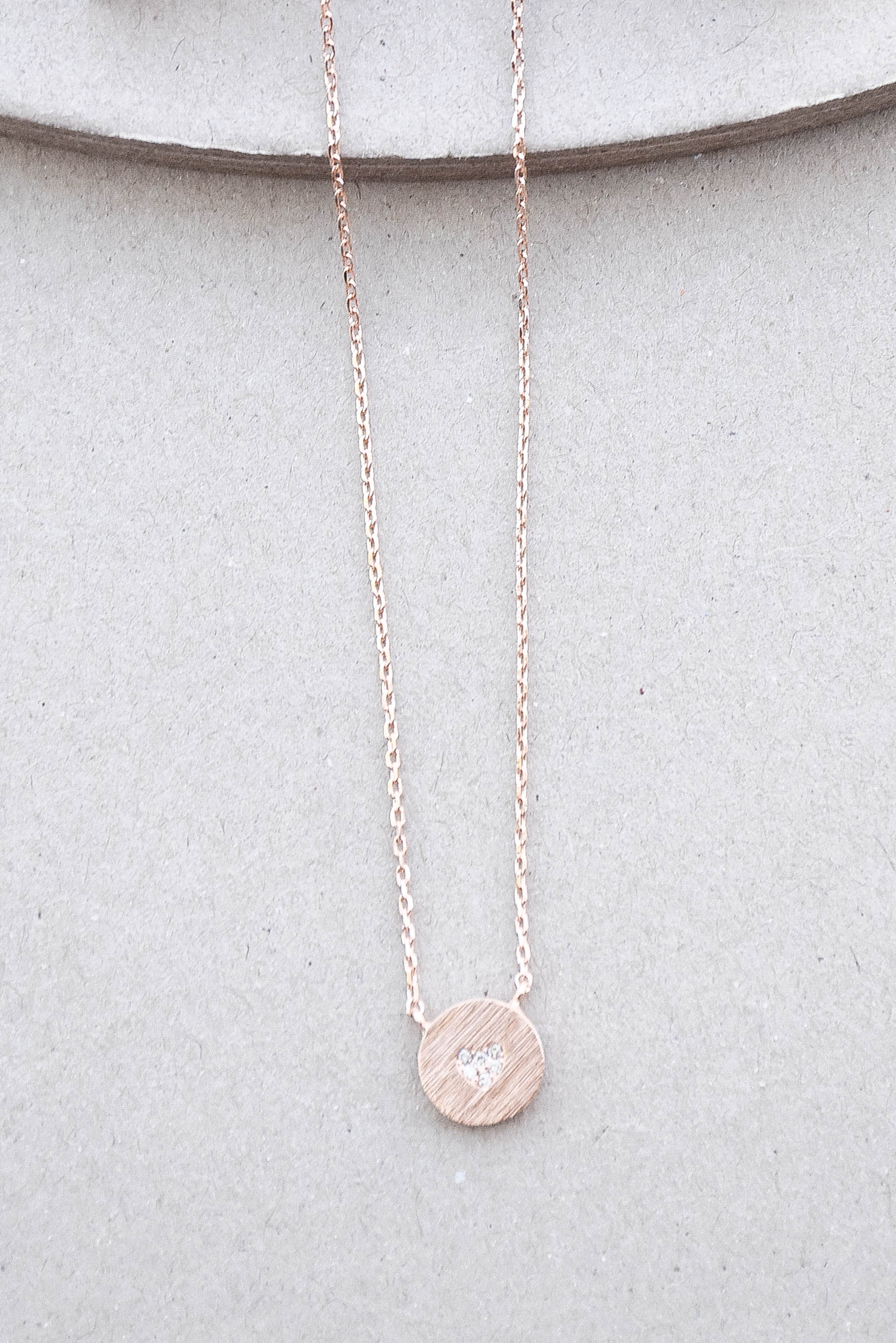 ETC CZ Heart Necklace (Rose Gold)