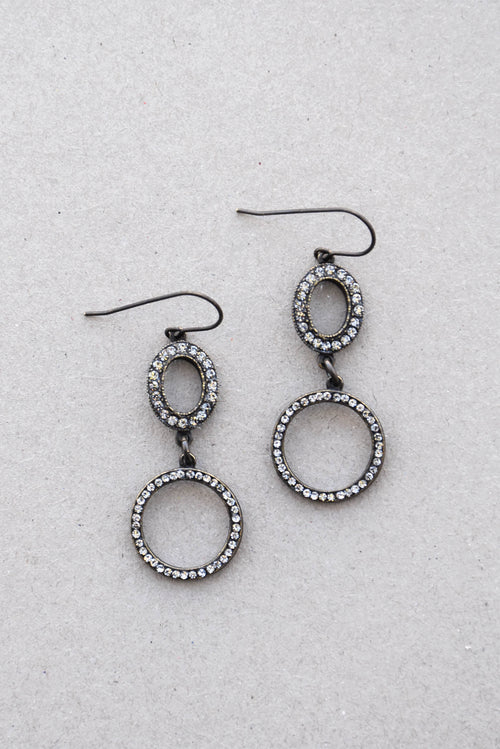 Rebel Double Circle Crystal Earrings
