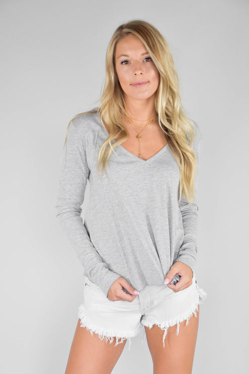 Free People Rock The Boat Long Sleeve (Grey)