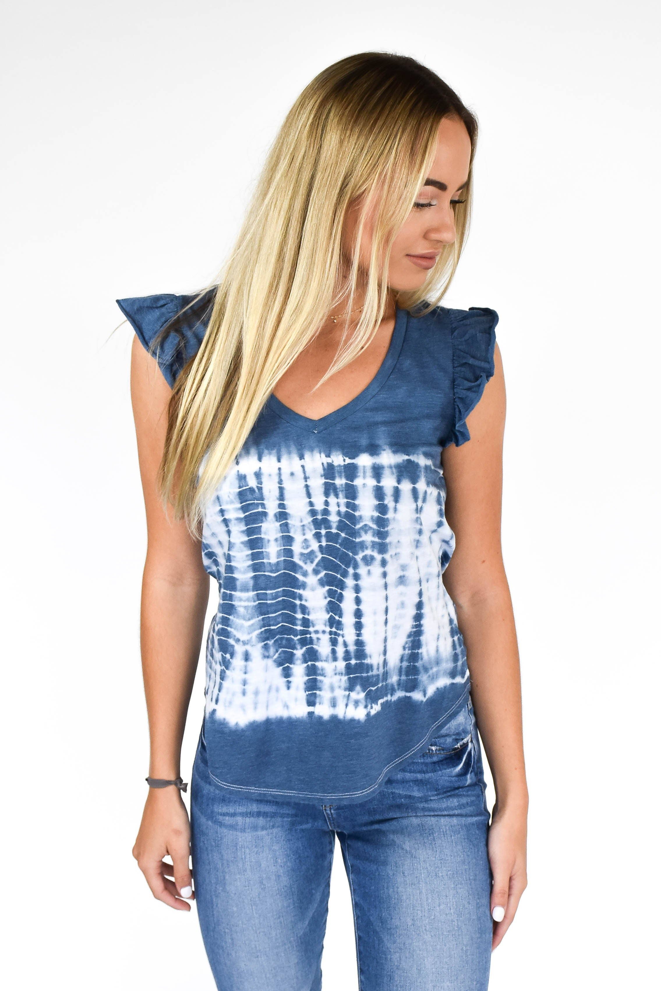 Chaser Tie-Dye Flutter Sleeve Top