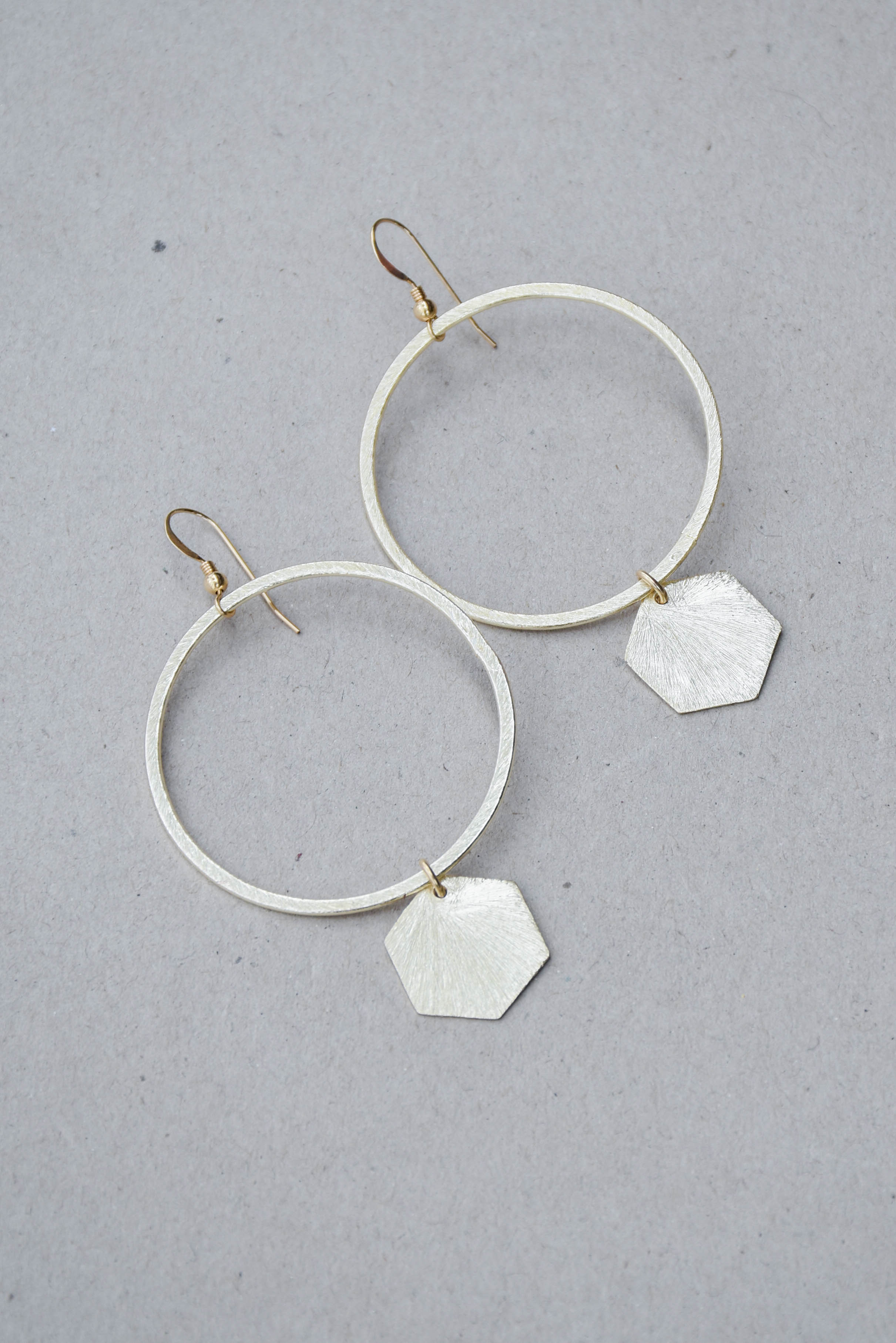 Love Poppy Hoop and Hexagon Dangle Earring