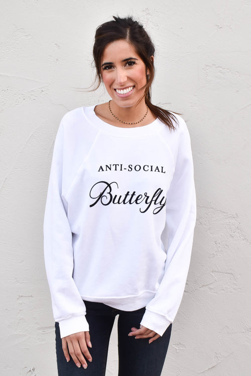 Wildfox Anti-Social Butterfly Sweatshirt