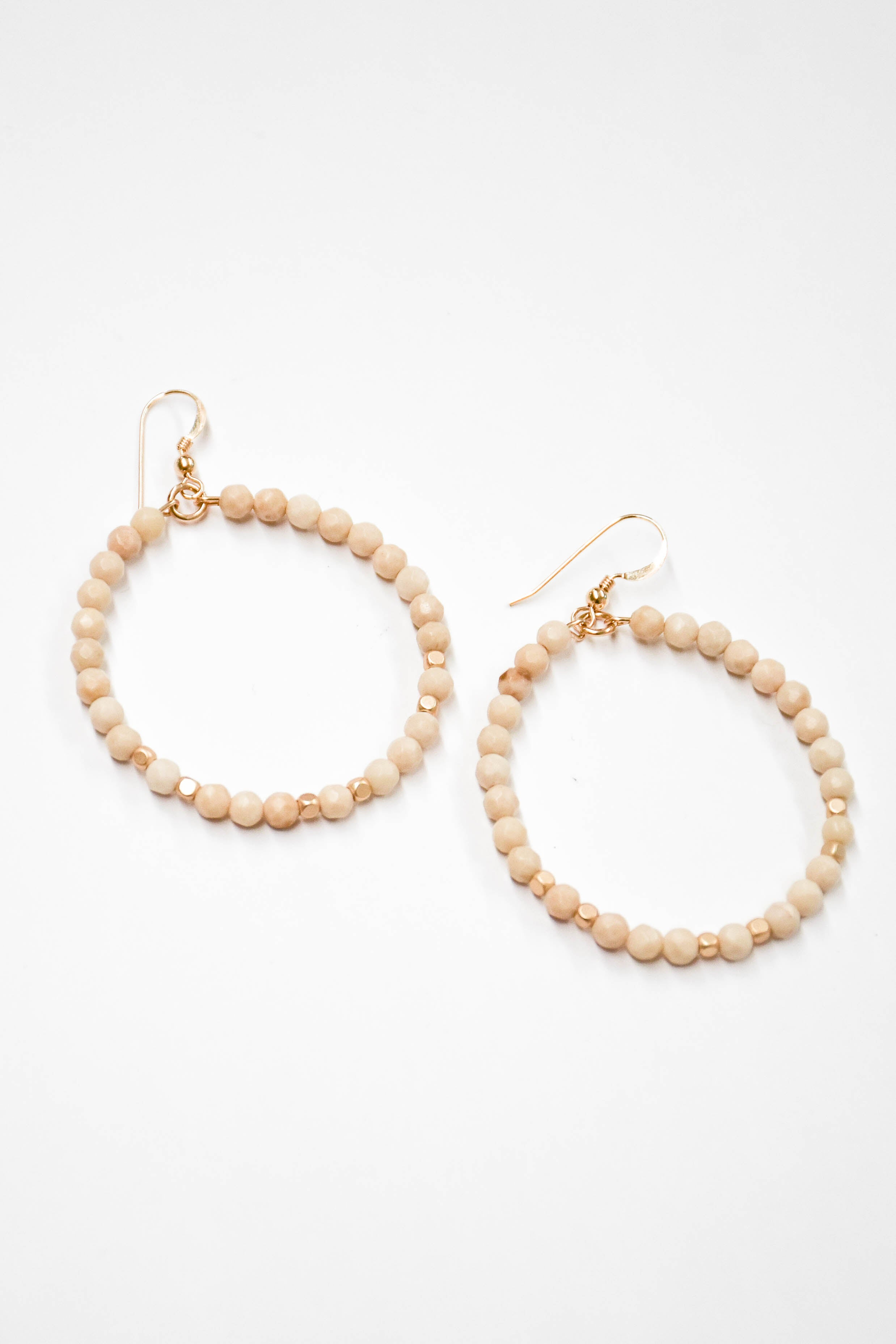 Love Poppy Victoria Beaded Hoops (Cream)