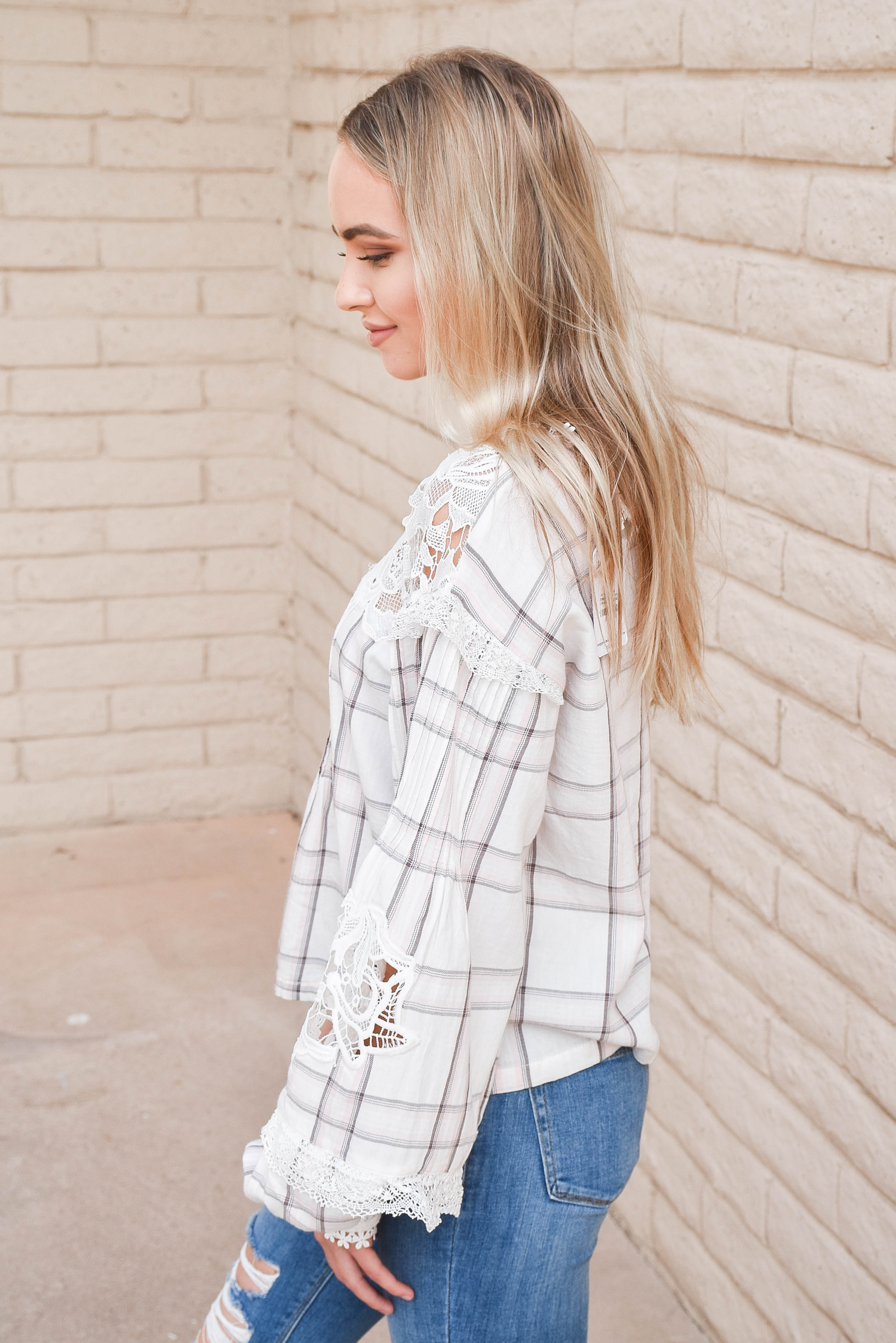 Free People Darling Diana Plaid Top SALE