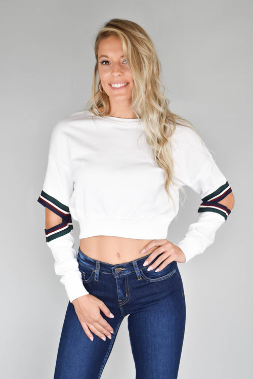 Michelle Open-Elbow Sweater (White)