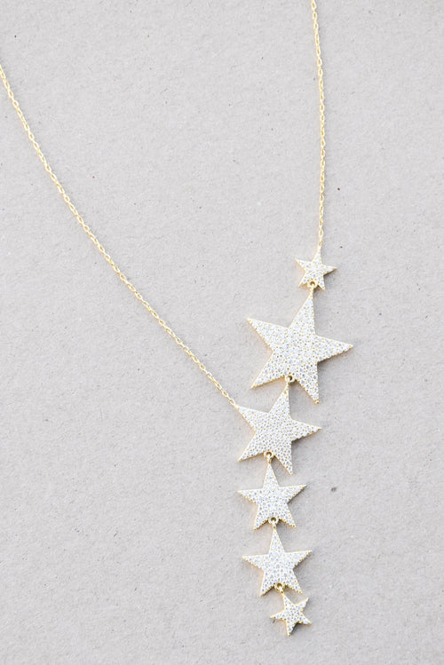 Peter & Gabby CZ Star Cluster Necklace (Gold)