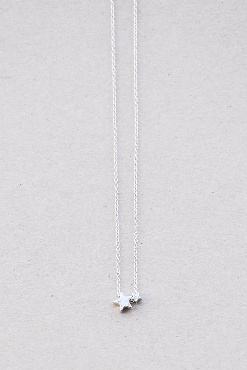 Peter & Gabby Mini Double Star Necklace (Silver)