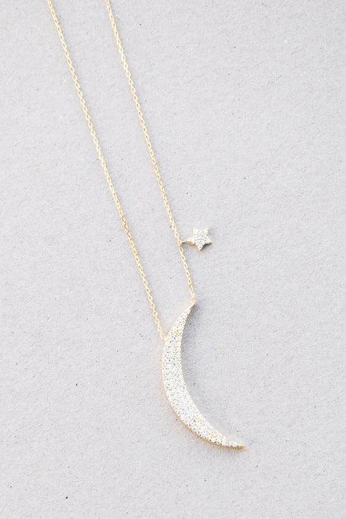 Peter & Gabby CZ Moon and Star Necklace (Gold)