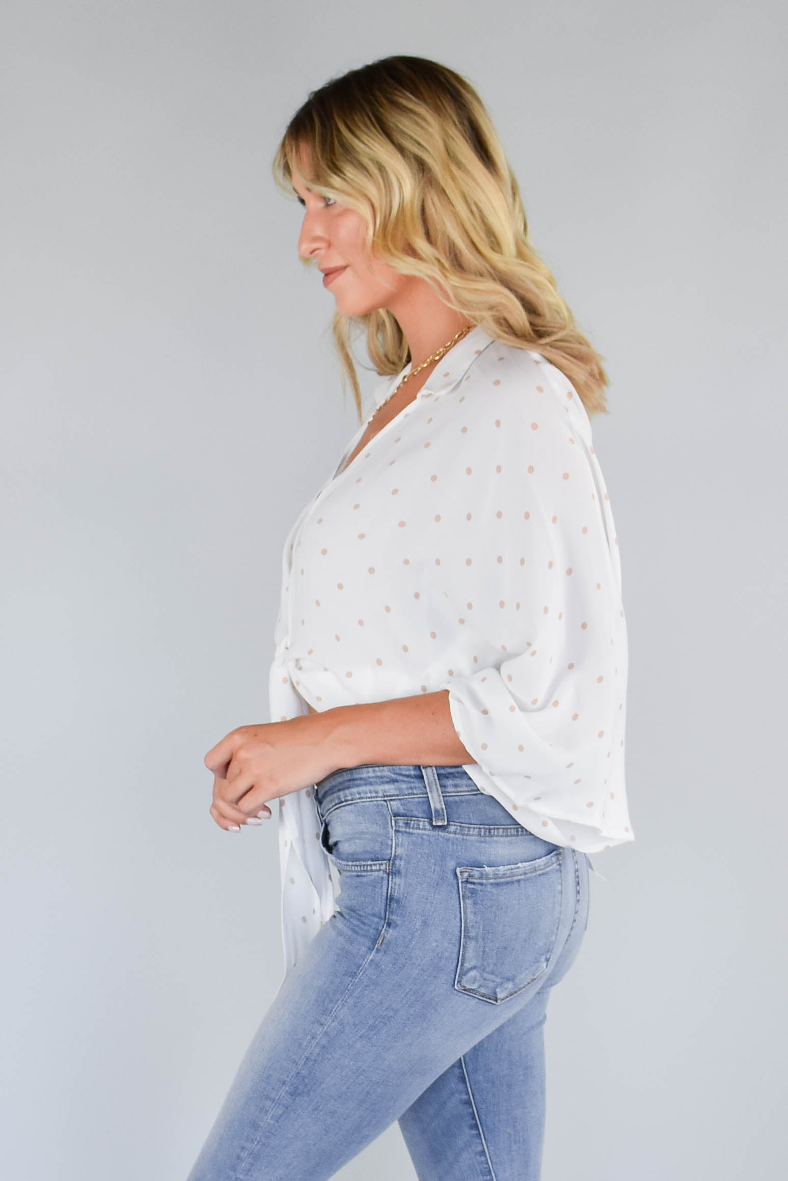Olivaceous Retro Dot Tie Front Top