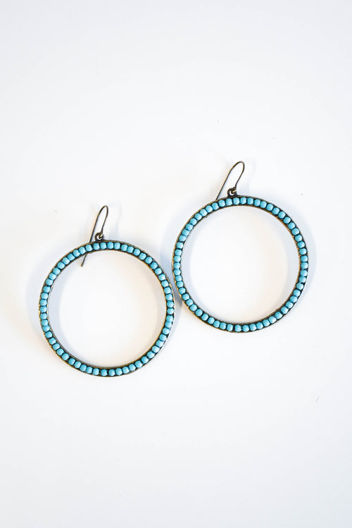 Rebel Large Open Circle Earrings (Turquoise)