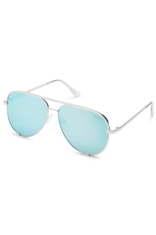 "Quay Australia ""High Key"" Sunglasses (Silver/Turquoise)"