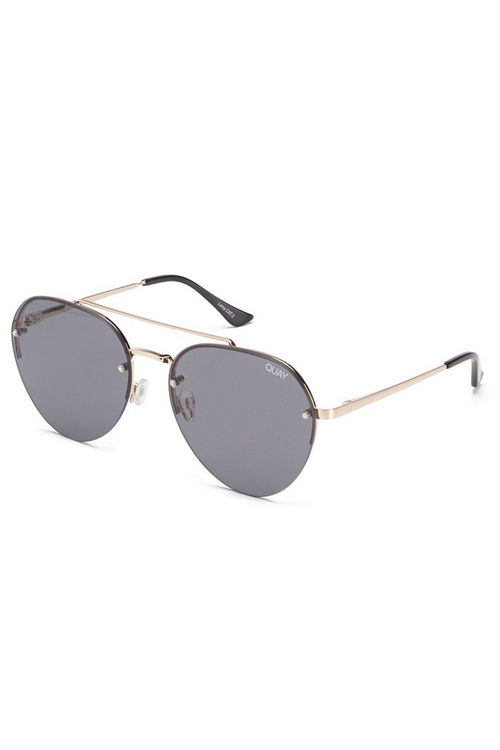 "Quay Australia ""Somerset"" Mirrored Sunglasses (Gold/Smoke)"