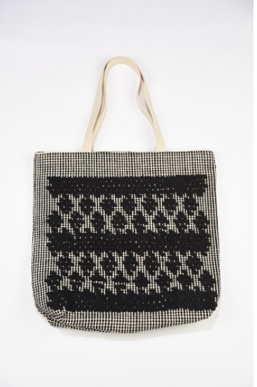 Ink + Alloy Handloom Simple Black Diamond Tote