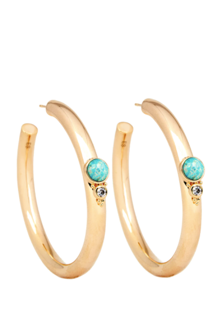 Elizabeth Stone Royal Gemstone Hoops (Aqua Opal)