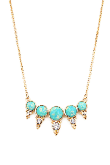 Elizabeth Stone Royal Gemstone Necklace (Aqua Opal)