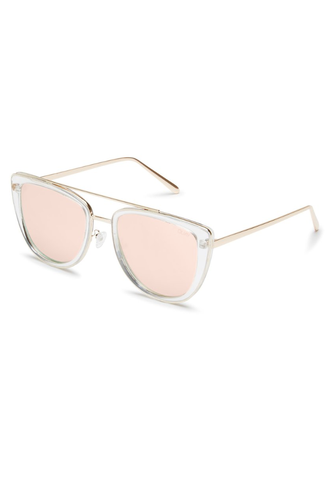 "Quay Australia ""French Kiss"" Sunglasses (Clear Rose)"